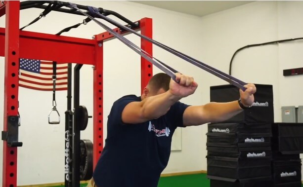 Example of overhead triceps extensions using bands