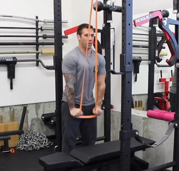 Example of triceps pushdown using bands